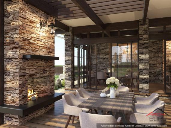 Интерьер перголы с камином на террасе у бани