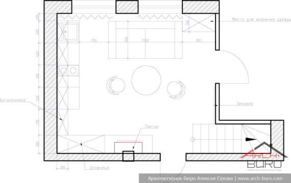 План комнаты отдыха в бане