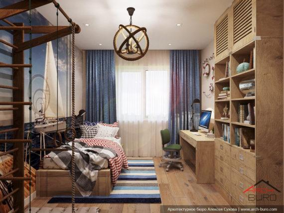 Загородный современный интерьер коттеджа. Дизайн детской комнаты
