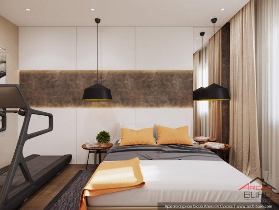 Загородный современный интерьер коттеджа. Дизайн гостевой комнаты