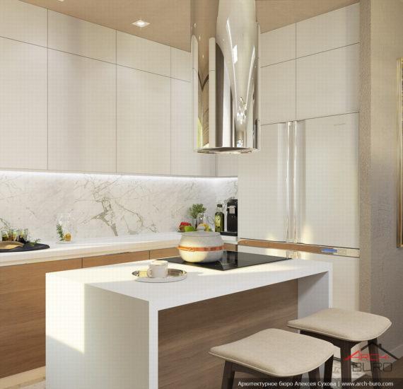 Загородный современный интерьер коттеджа. Дизайн кухни