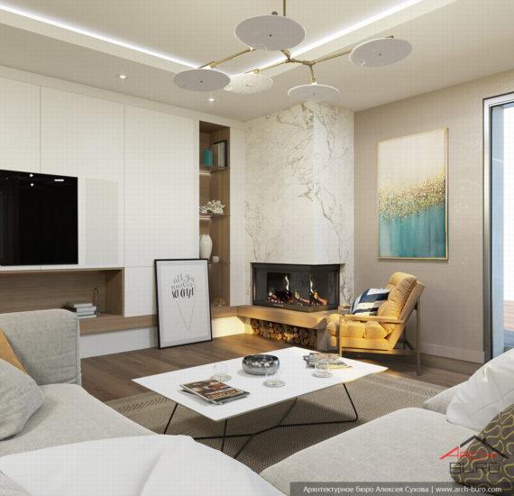 Загородный современный интерьер коттеджа. Дизайн гостиной-каминной