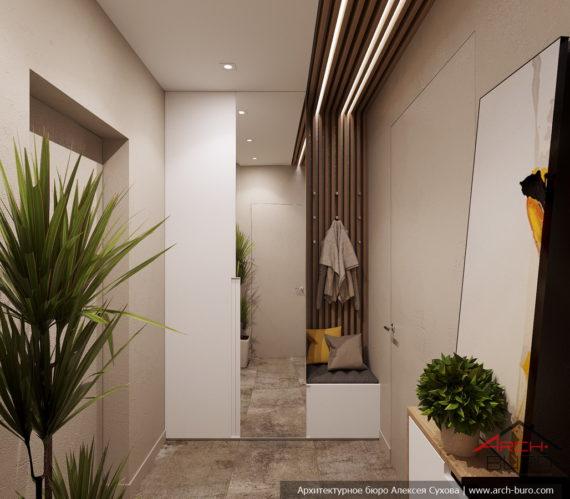 Загородный современный интерьер коттеджа. Дизайн прихожей