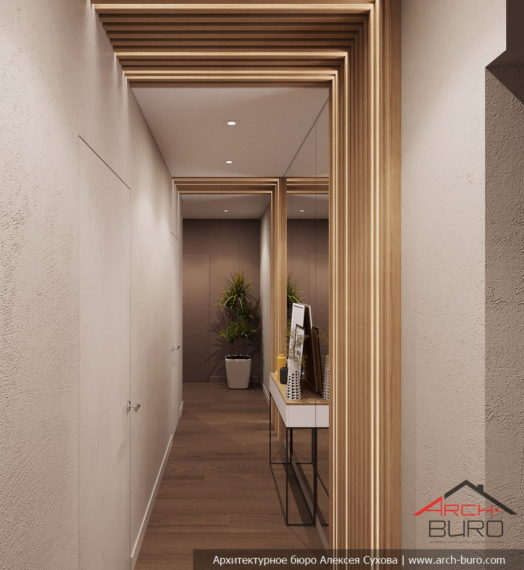 Загородный современный интерьер коттеджа. Дизайн коридора