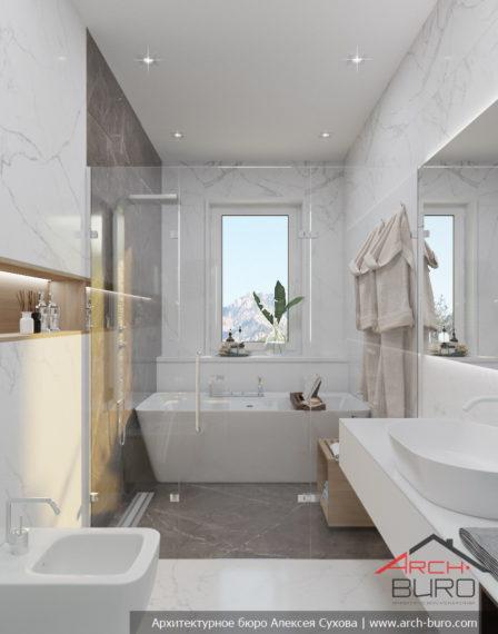 Загородный современный интерьер коттеджа. Дизайн ванной комнаты
