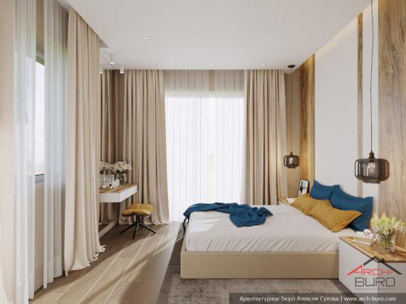 Загородный современный интерьер коттеджа. Дизайн спальни