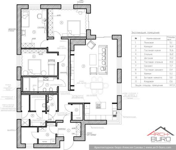 Планировка одноэтажного коттеджа - загородного дома