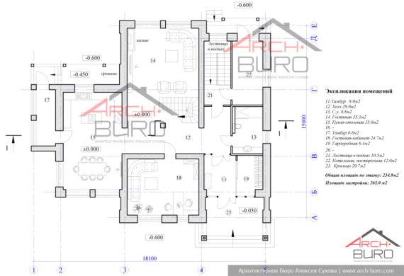 Планировка 2-х этажного дома без гаража. План 1-го этажа