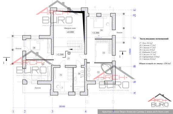 Планировка 2-х этажного дома без гаража. План 2-го этажа