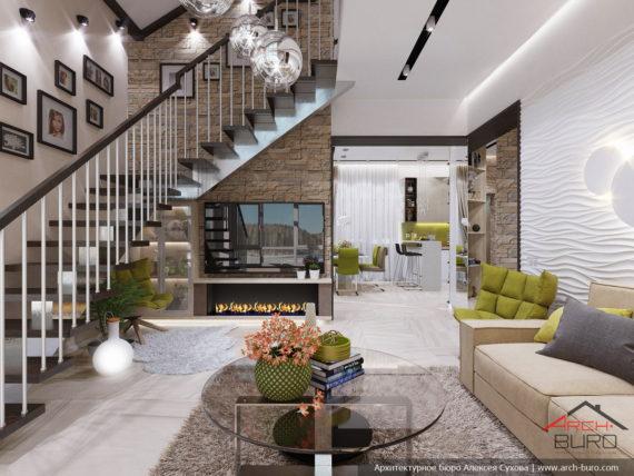 Лестница в гостиной со вторым светом