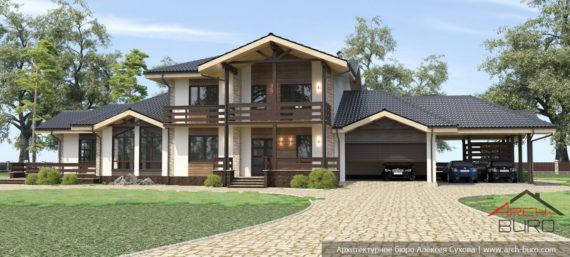Двухэтажный дом с гаражом и навесом для машин