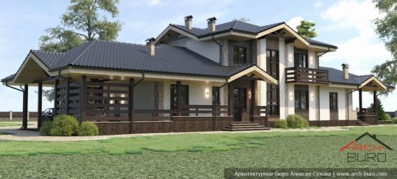 Дом с террасой и сауной