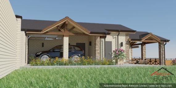Красивый проект гаража с навесом