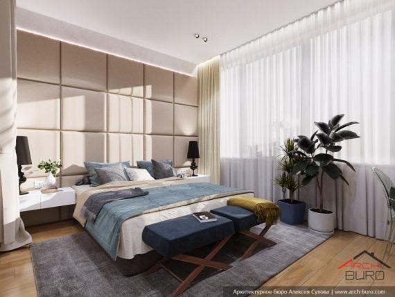 Современный стильный интерьер в свободной планировке. Дизайн спальни