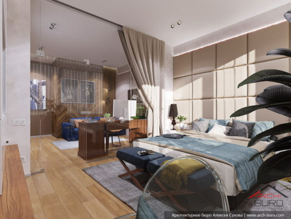 Современный стильный интерьер в свободной планировке. Дизайн спальни и кабинета