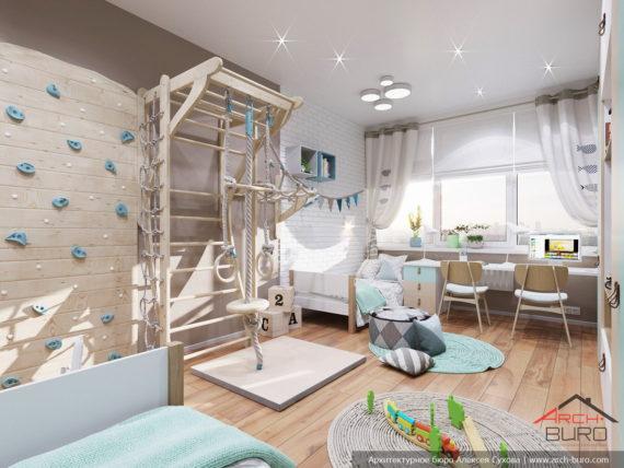 Современный стильный интерьер в свободной планировке. Дизайн детской