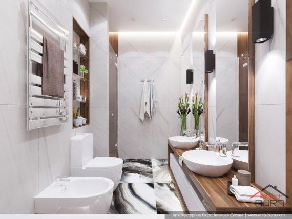 Современный стильный интерьер в свободной планировке. Дизайн ванной