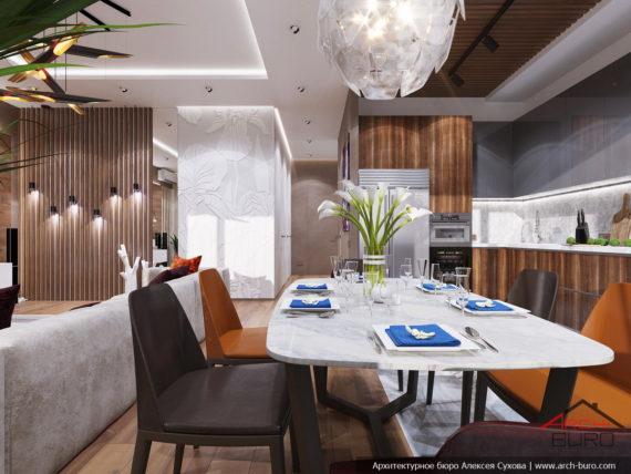 Современный стильный интерьер в свободной планировке. Дизайн кухни-столовой