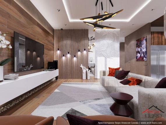 Современный стильный интерьер в свободной планировке. Дизайн гостиной