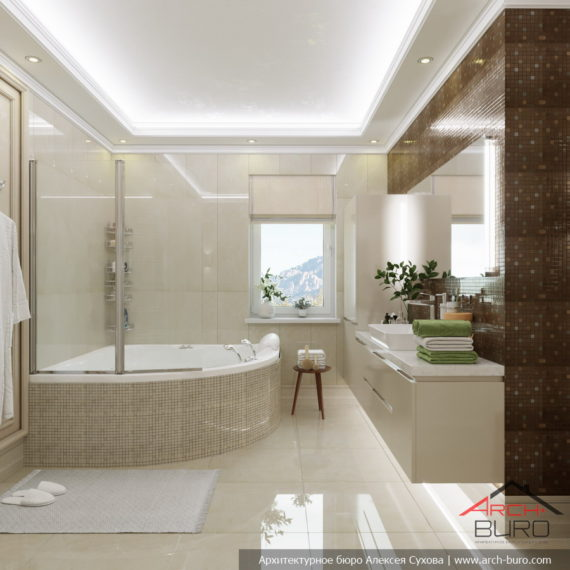 Классический дизайн интерьера коттеджа. Ванная комната
