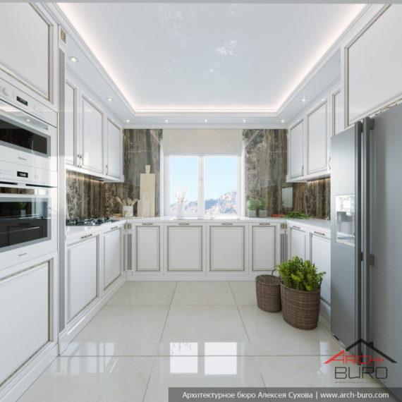 Классический дизайн интерьера коттеджа. Кухня