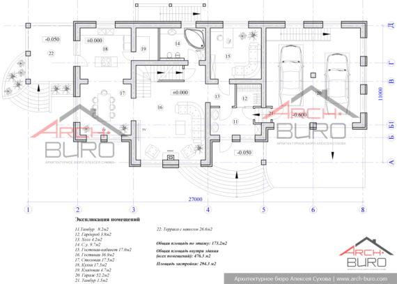 План 1-го этажа загородного дома