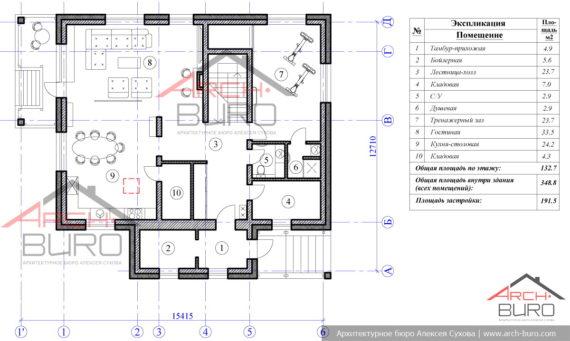 План 1-го этажа частного дома