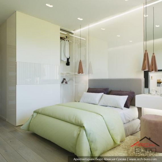 Дизайн спальни в лёгких салатовых тонах