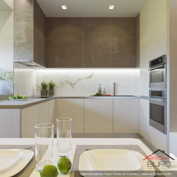 Дизайн кухни с фасадами из штукатурки
