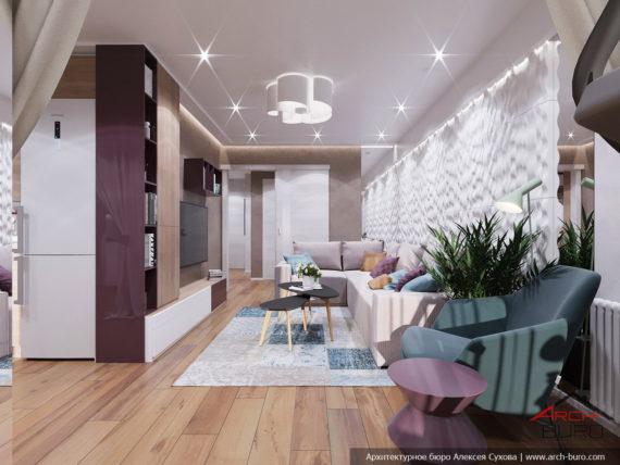 Дизайн и ремонт квартиры в Ташкенте. Интерьер гостиной