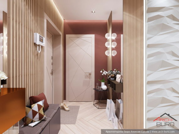 Применение 3д панелей в дизайне небольшой квартиры. Интерьер прихожей