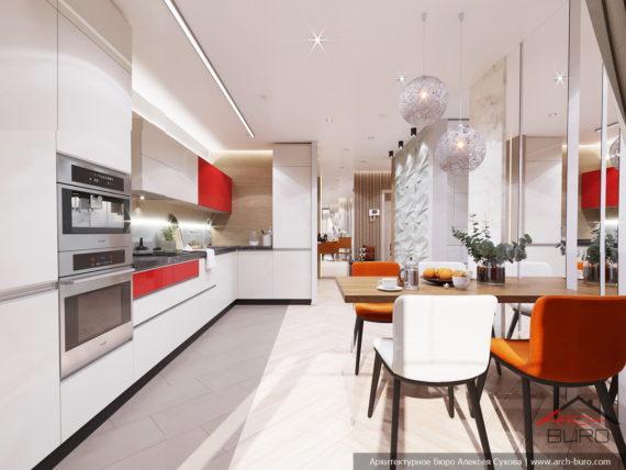 Применение 3д панелей в дизайне небольшой квартиры. Интерьер кухни