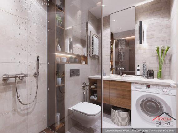 Применение 3д панелей в дизайне небольшой квартиры. Интерьер ванны
