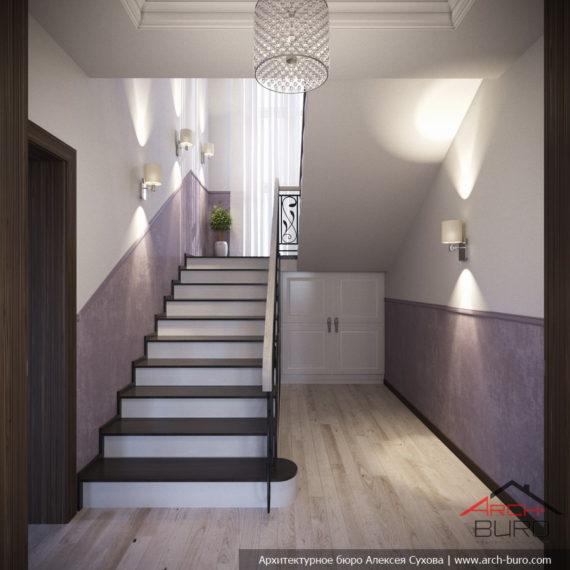 Красивые интерьеры в современной классике. Дизайн лестницы
