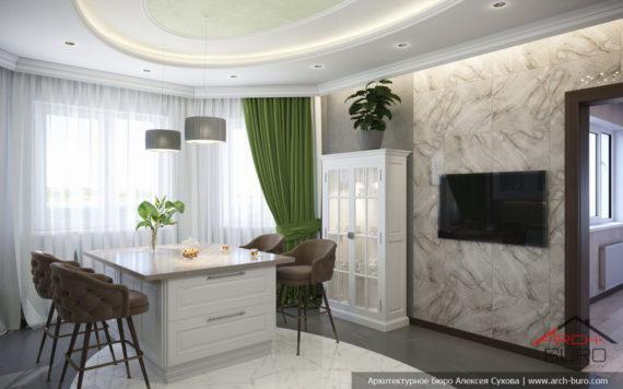 Красивые интерьеры в современной классике. Дизайн кухни