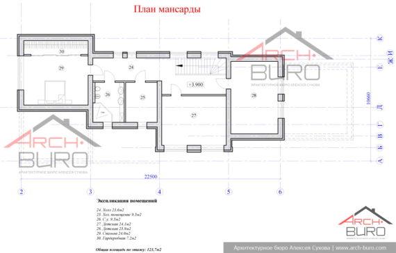 План мансарды с 3-мя спальнями. г.Москва