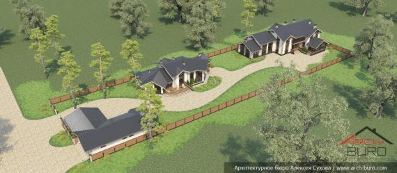 Проект дома со спортзалом. Вид на весь участок с баней и гаражом
