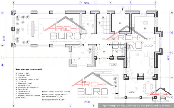 Проект дома со спортзалом. План 1-го этажа