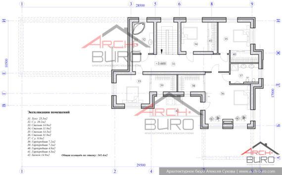 Проект дома со спортзалом. План мансардного этажа