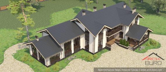 Проект дома со спортзалом. Вид на весь дом сверху