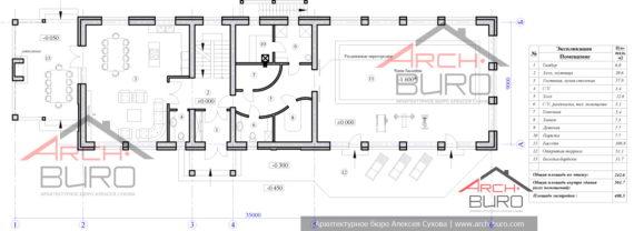 План 1-го этажа бани с большим бассейном