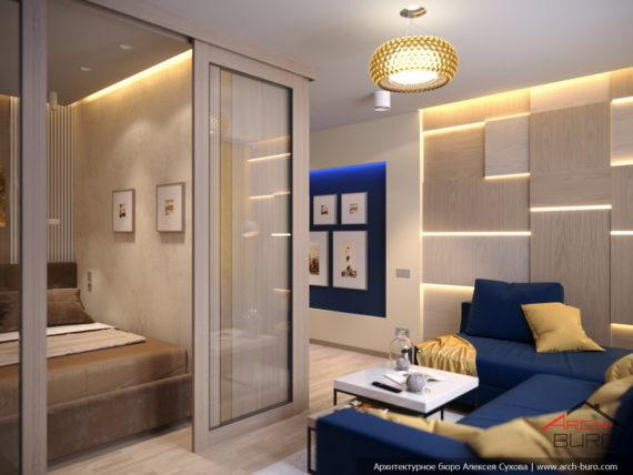 Спальня гостиная с кроватью