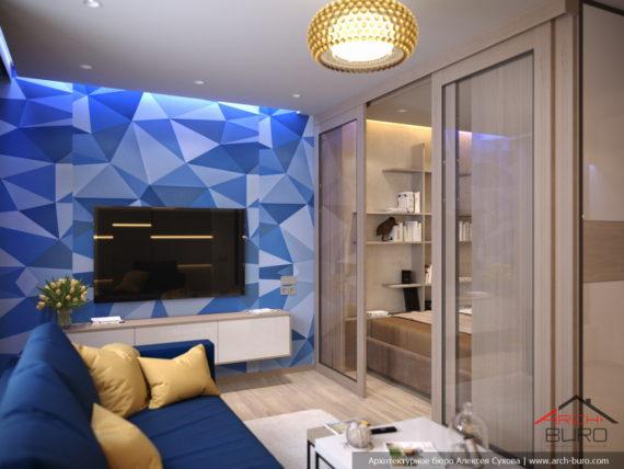 Дизайн гостиной с кроватью