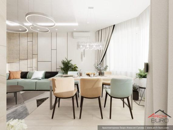 Дизайн столовой в светлых тонах