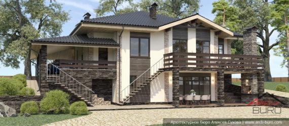 Дом на склоне с цокольным этажом