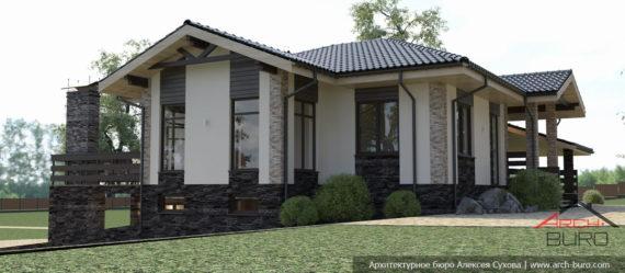 Одноэтажный дом на участке с уклоном