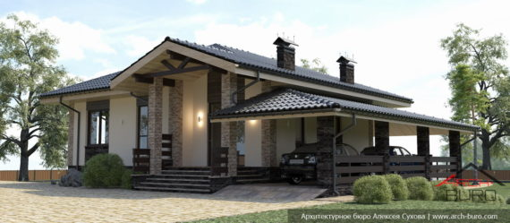 Одноэтажный дом с навесом