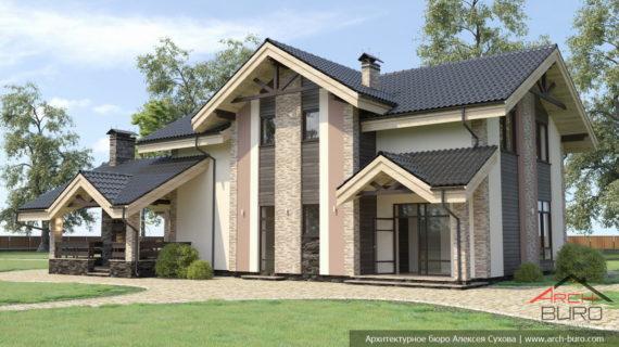 Проект красивого загородного дома с мансардным этажом