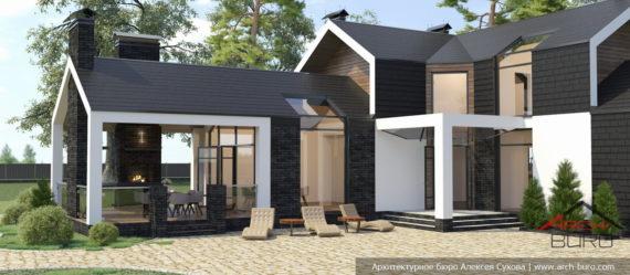 Проект бани в стиле Barn house