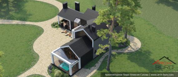 Проект бани с мансардой и двумя спальнями